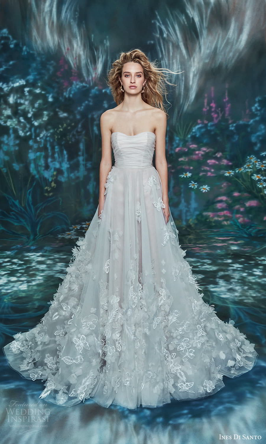 ines di santo spring 2022 bridal strapless sweetheart neckline ruched bodice a line ball gown wedding dress chapel train (10) mv