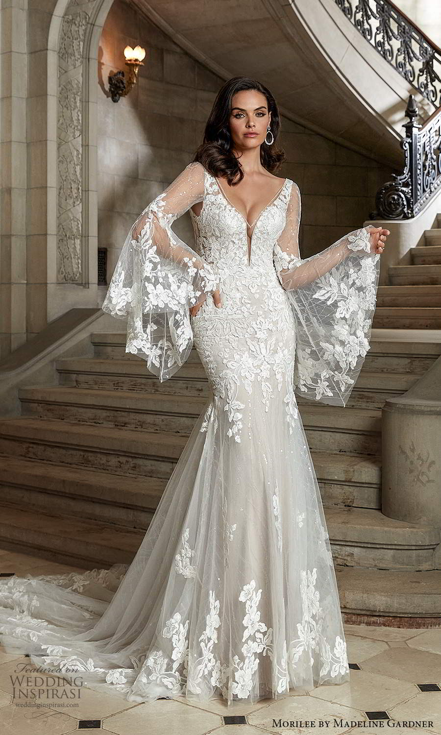 morilee madeline gardner spring 2022 bridal detachable sheer long flare sleeves sleeveless straps plunging v necklne fully embellished fit flare mermaid wedding dress chapel train (3) mv