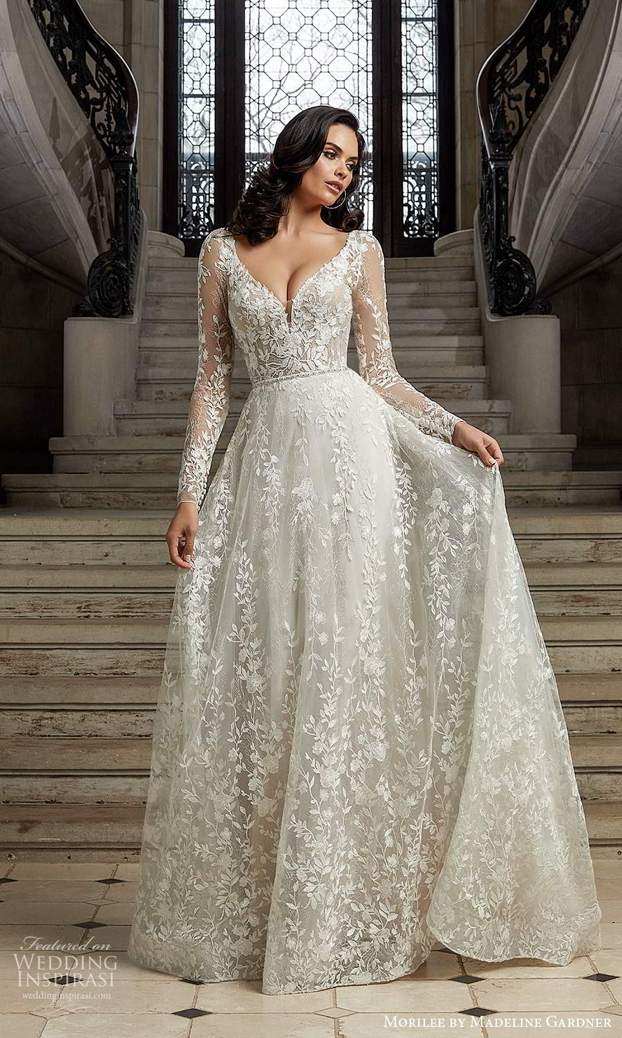 morilee madeline gardner spring 2022 bridal sheer long sleeves v neckline fully embellished lace a line ball gown wedding dress chapel train (7) mv