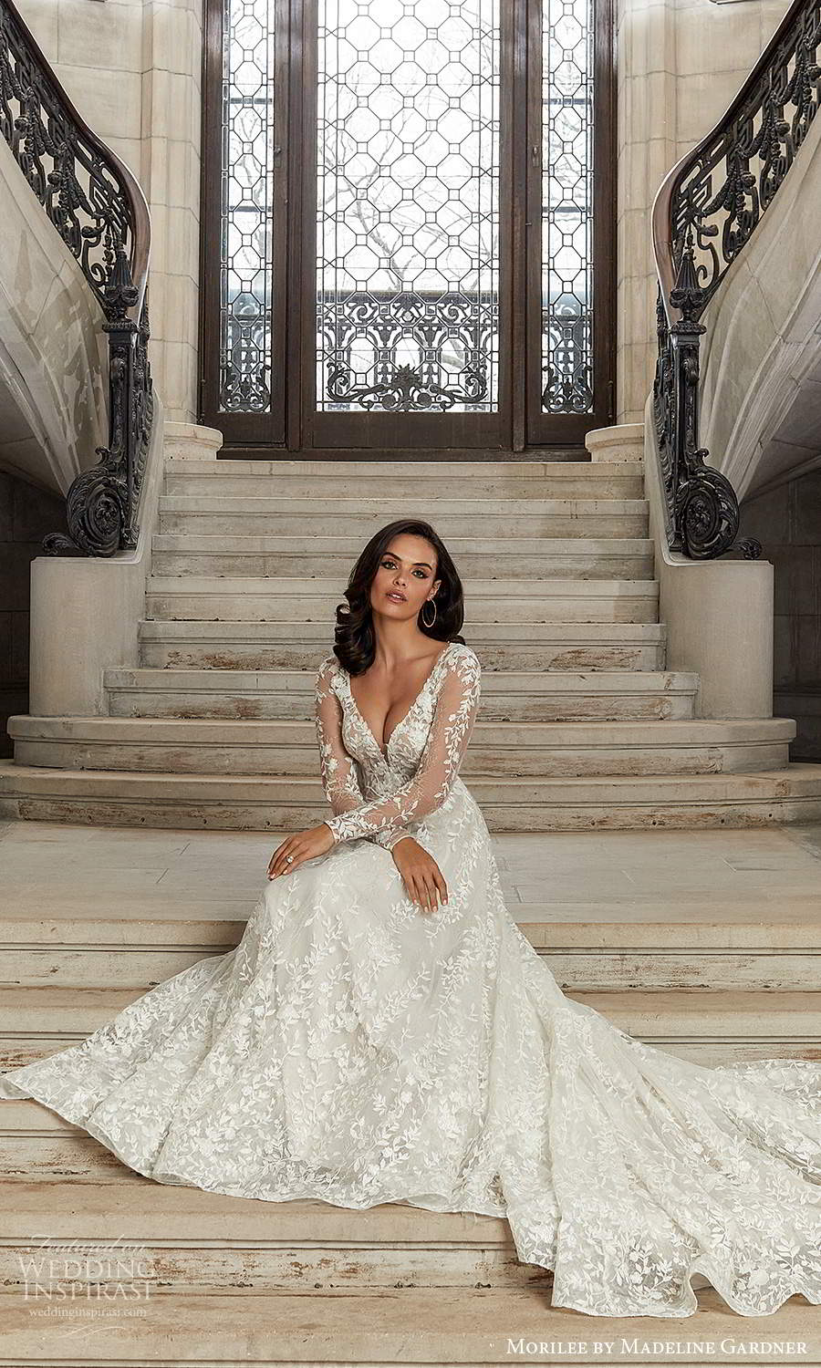 morilee madeline gardner spring 2022 bridal sheer long sleeves v neckline fully embellished lace a line ball gown wedding dress chapel train keyhole back (7) fv