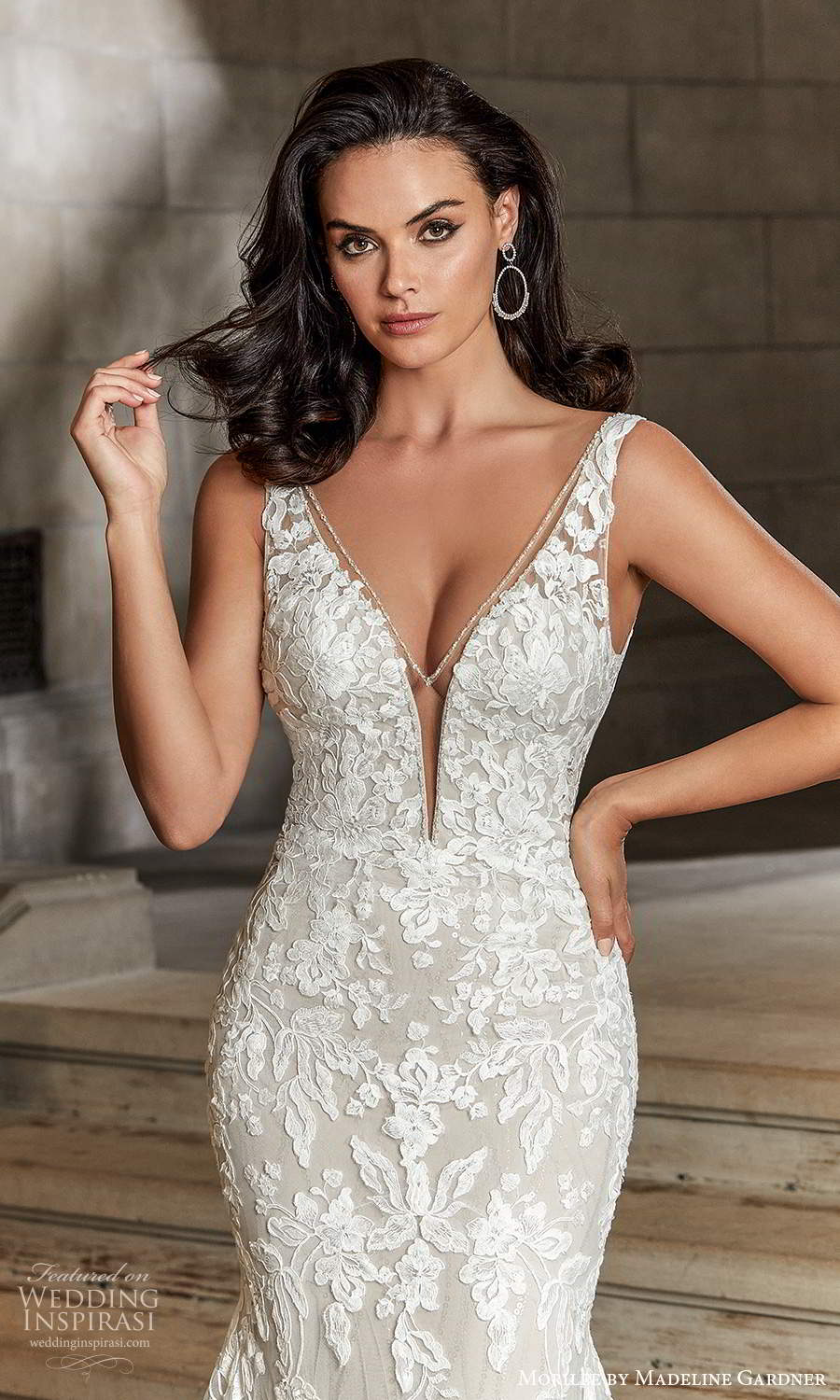 morilee madeline gardner spring 2022 bridal sleeveless straps plunging v necklne fully embellished fit flare mermaid wedding dress chapel train (3) zv