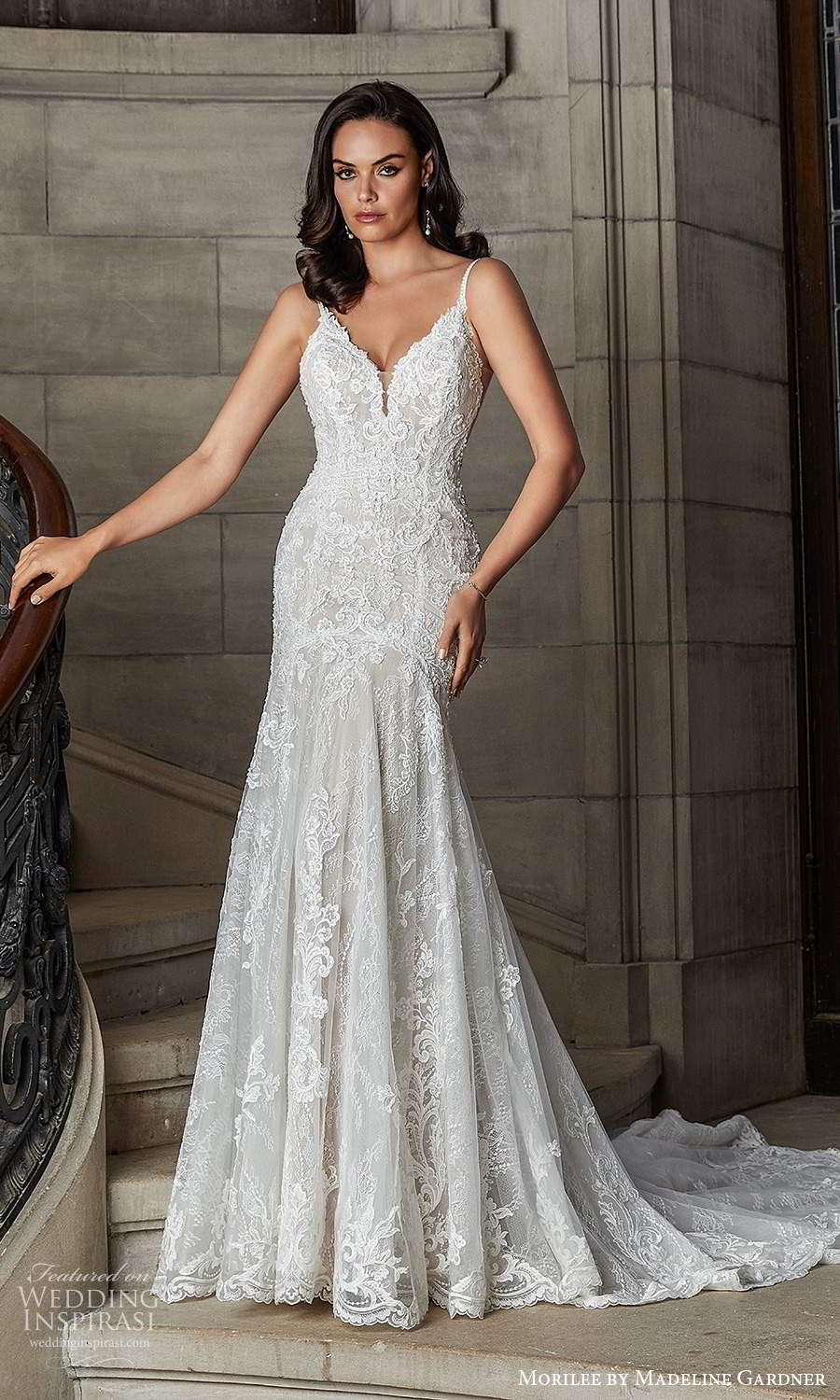 morilee madeline gardner spring 2022 bridal sleeveless straps sweetheart neckline fully embellished sheath wedding dress chapel train (5) mv