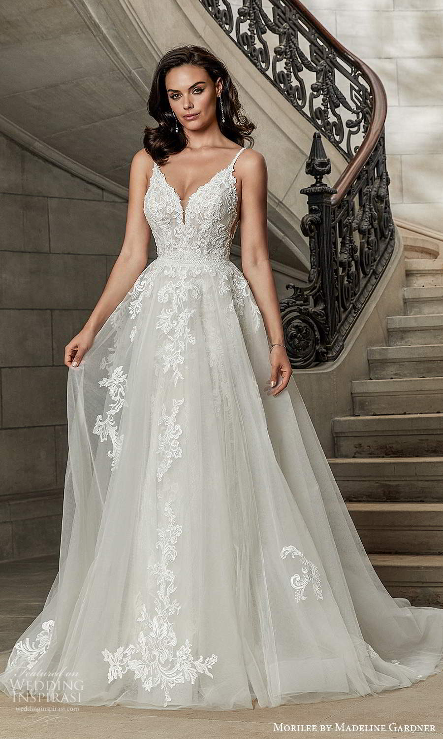morilee madeline gardner spring 2022 bridal sleeveless straps sweetheart neckline fully embellished sheath wedding dress chapel train ball gown overskirt (5) mv