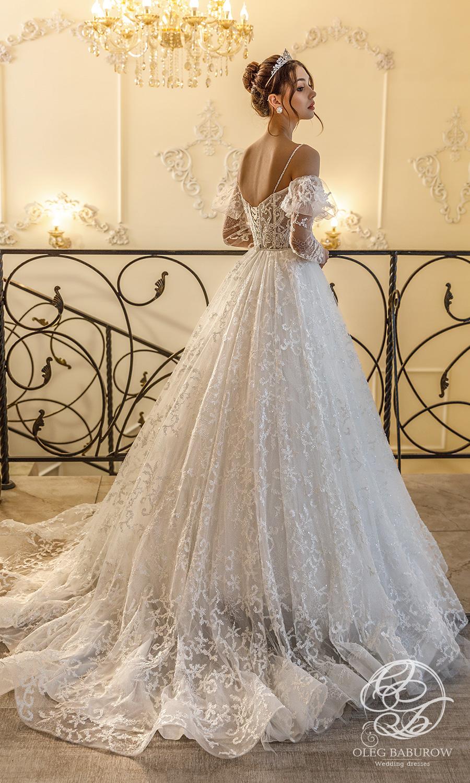 oleg baburow 2021 life miracle bridal cold off shoulder long puff sleeves straps sweetheart neckline a line ball gown wedding dress chapel train (rosa) bv