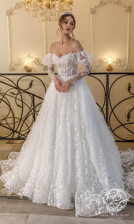 oleg baburow 2021 life miracle bridal cold off shoulder long puff sleeves straps sweetheart neckline a line ball gown wedding dress chapel train (rosa) mv