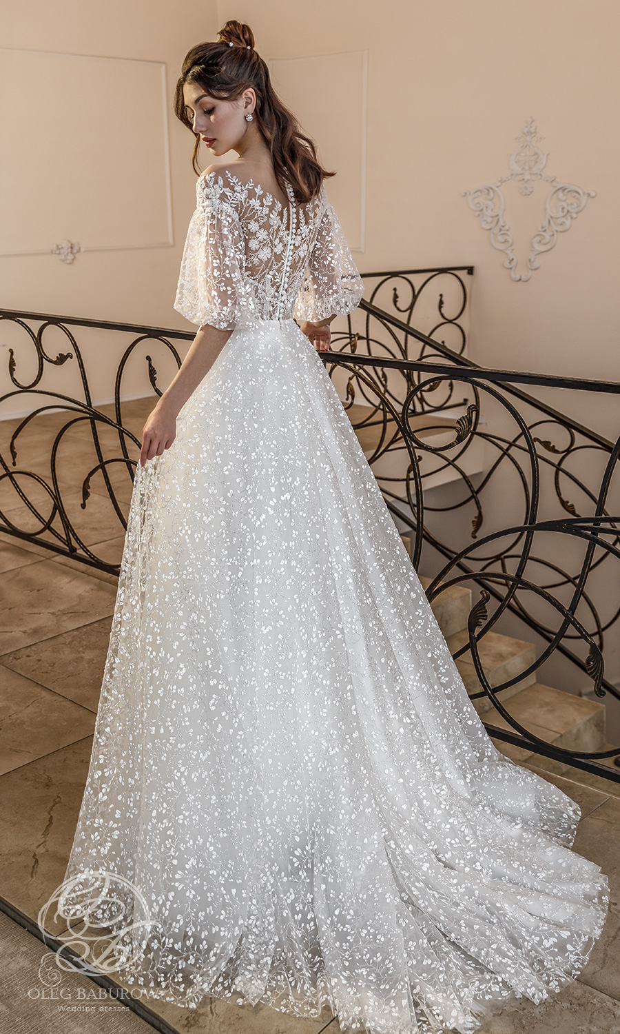 oleg baburow 2021 life miracle bridal elbow length puff sleeves off shoulder neckline embellished bodice a line ball gown wedding dress chapel train (muse) bv