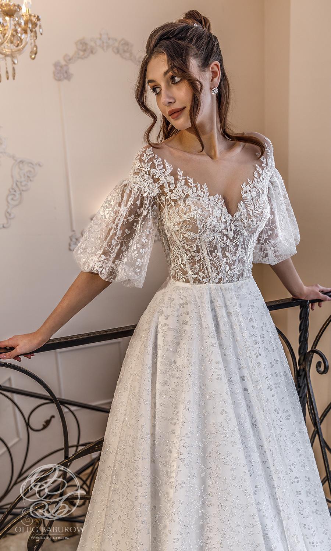 oleg baburow 2021 life miracle bridal elbow length puff sleeves off shoulder neckline embellished bodice a line ball gown wedding dress chapel train (muse) mv