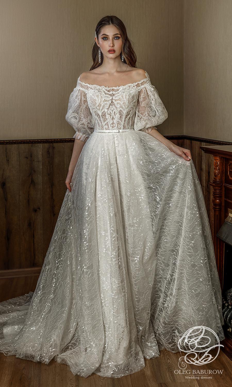 oleg baburow 2021 life miracle bridal elbow length puff sleeves off shoulder neckline fully embellished a line ball gown wedding dress chapel train (ornella) mv