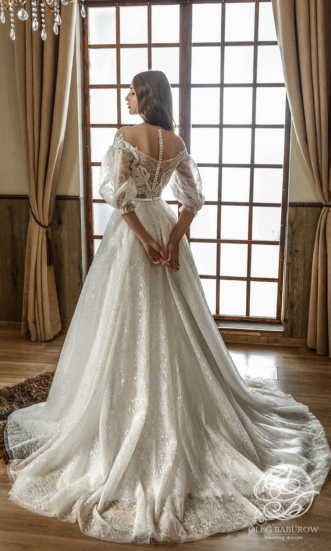 oleg baburow 2021 life miracle bridal elbow length puff sleeves off shoulder neckline fully embellished a line ball gown wedding dress chapel train sheer back (ornella) bv