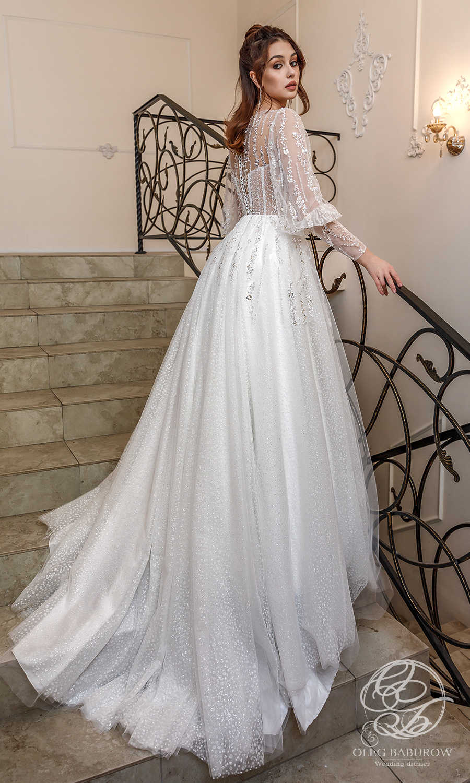 oleg baburow 2021 life miracle bridal long bishop sleeve v neckline embellished bodice a line ball gown wedding dress chapel train (lotus) bv