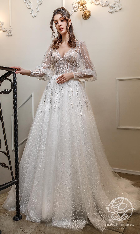 oleg baburow 2021 life miracle bridal long bishop sleeve v neckline embellished bodice a line ball gown wedding dress chapel train (lotus) mv