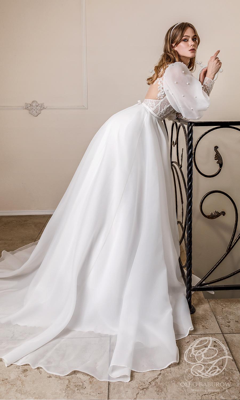 oleg baburow 2021 life miracle bridal long puff sleeve jewel neckline embellished bodice clean skirt a line ball gown wedding dress chapel train (cameron) sv
