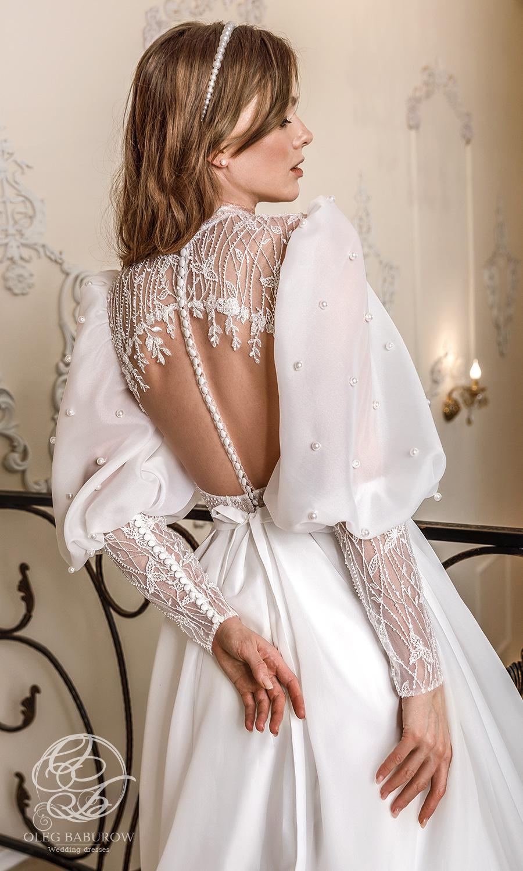 oleg baburow 2021 life miracle bridal long puff sleeve jewel neckline embellished bodice clean skirt a line ball gown wedding dress chapel train (cameron) zbv