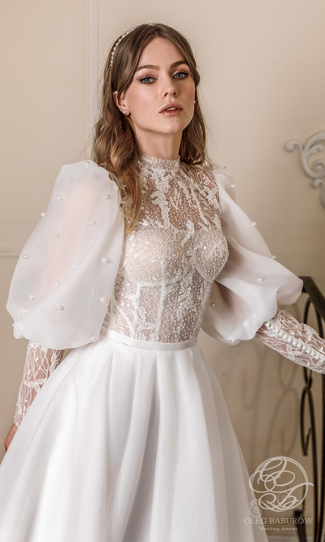 oleg baburow 2021 life miracle bridal long puff sleeve jewel neckline embellished bodice clean skirt a line ball gown wedding dress chapel train (cameron) zv