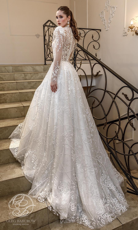 oleg baburow 2021 life miracle bridal long puff sleeves jewel nekline embellished lace a line ball gown wedding dress chapel train (azzaria) bv