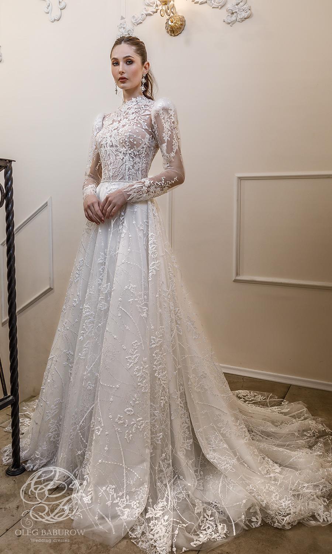 oleg baburow 2021 life miracle bridal long puff sleeves jewel nekline embellished lace a line ball gown wedding dress chapel train (azzaria) mv