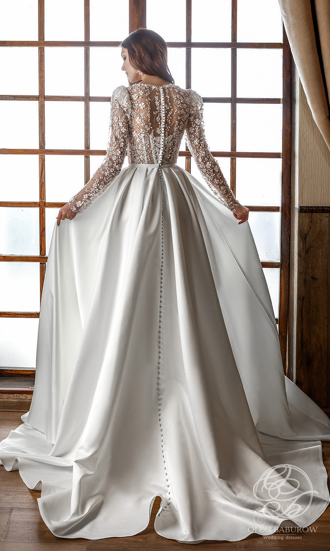 oleg baburow 2021 life miracle bridal long puff sleeves v neckline embellished corset bodice clean slit skirt a line ball gown wedding dress chapel train (nancy) bv