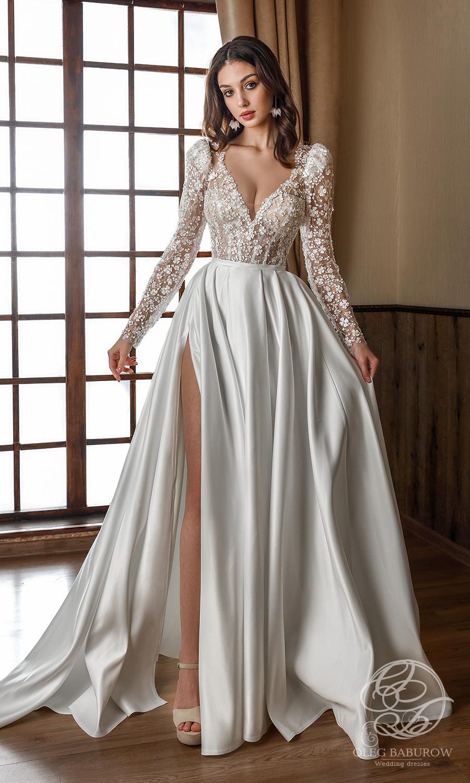 oleg baburow 2021 life miracle bridal long puff sleeves v neckline embellished corset bodice clean slit skirt a line ball gown wedding dress chapel train (nancy) fv