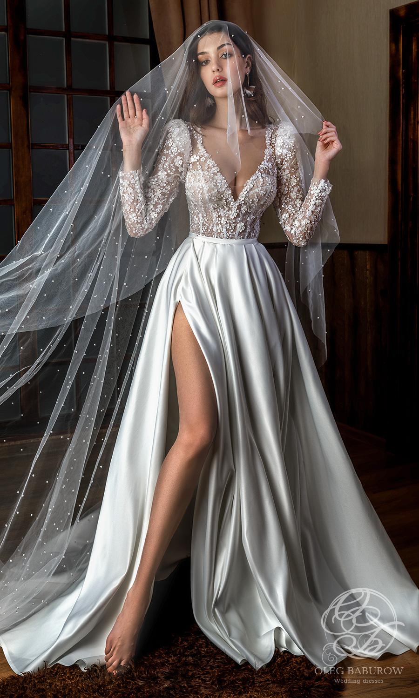 oleg baburow 2021 life miracle bridal long puff sleeves v neckline embellished corset bodice clean slit skirt a line ball gown wedding dress chapel train (nancy) mv