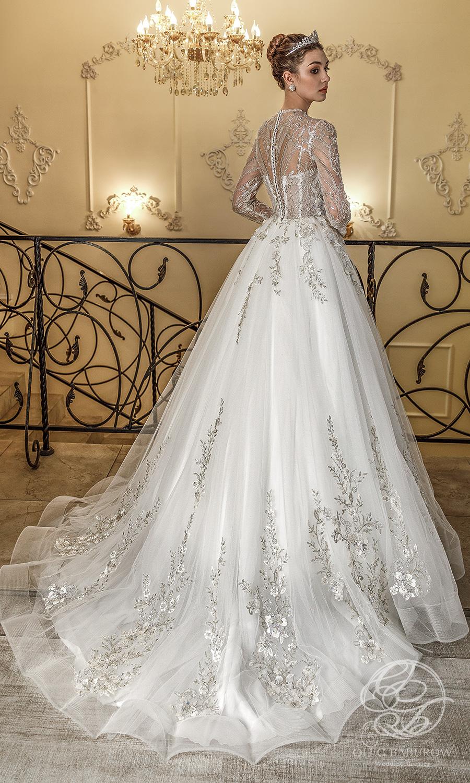 oleg baburow 2021 life miracle bridal long sleeves jewel neckline heavily embellished bodice a line ball gown wedding dress chapel train (claudia) bv