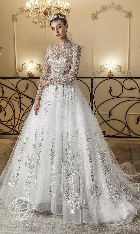 oleg baburow 2021 life miracle bridal long sleeves jewel neckline heavily embellished bodice a line ball gown wedding dress chapel train (claudia) mv