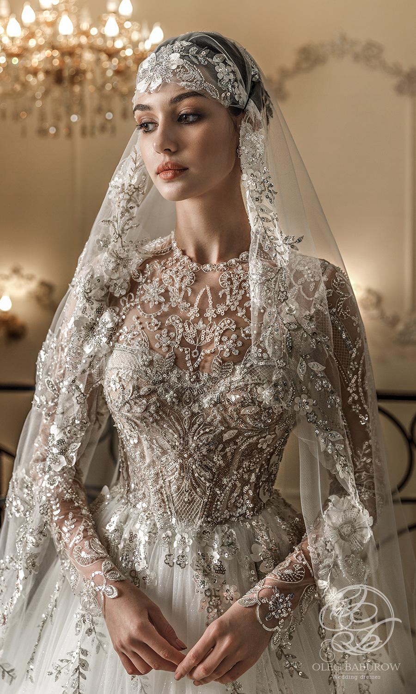 oleg baburow 2021 life miracle bridal long sleeves jewel neckline heavily embellished bodice a line ball gown wedding dress chapel train (claudia) zv
