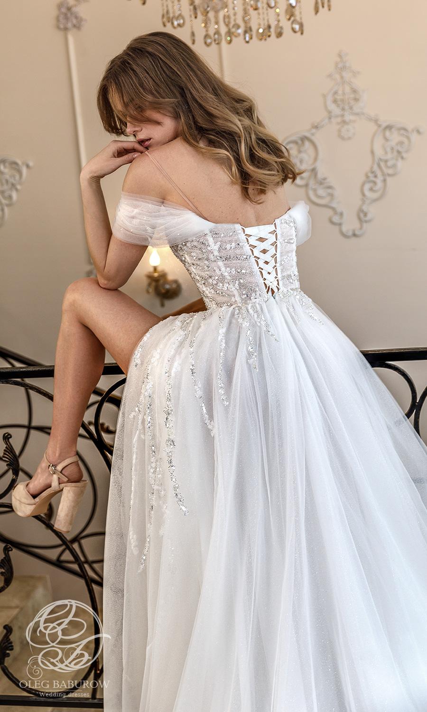 oleg baburow 2021 life miracle bridal off shoulder cold shoulder sweetheart neckline embellished bodice a line ball gown wedding dress slit skirt (vanilla) bv