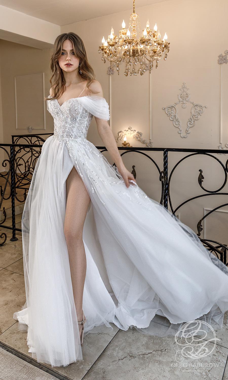 oleg baburow 2021 life miracle bridal off shoulder cold shoulder sweetheart neckline embellished bodice a line ball gown wedding dress slit skirt (vanilla) mv