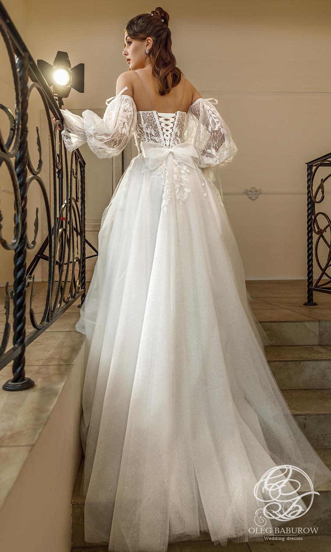 oleg baburow 2021 life miracle bridal off shoulder sheet bishop sleeves semi sweetheart neckline embellished bodice a line ball gown wedding dress chapel train (vanda) bv