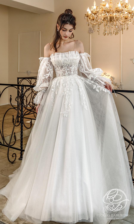 oleg baburow 2021 life miracle bridal off shoulder sheet bishop sleeves semi sweetheart neckline embellished bodice a line ball gown wedding dress chapel train (vanda) mv