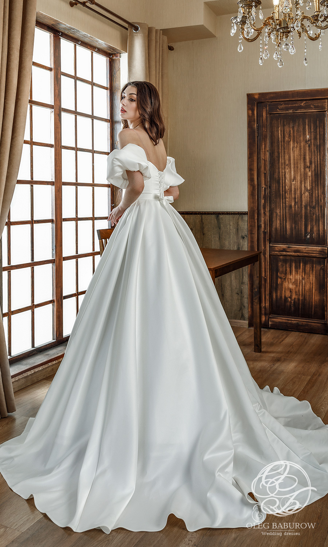 oleg baburow 2021 life miracle bridal off shoulder short puff sleeves straight across neckline clean minimalist a line ball gown wedding dress chapel train (sabrina) bv
