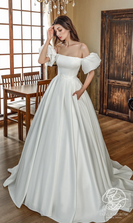 oleg baburow 2021 life miracle bridal off shoulder short puff sleeves straight across neckline clean minimalist a line ball gown wedding dress chapel train (sabrina) mv
