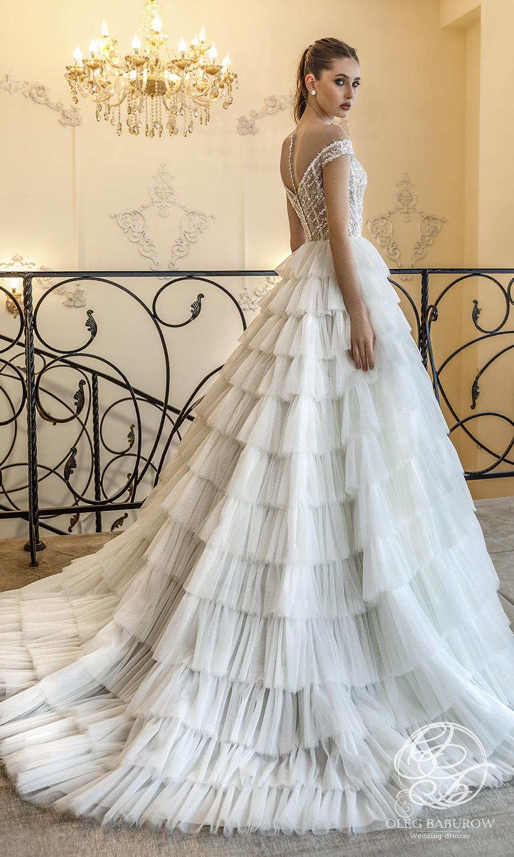 oleg baburow 2021 life miracle bridal off shoulder straps sweetheart neckline embellished bodice a line ball gown wedding dress ruffle skirt chapel train (berlin) bv
