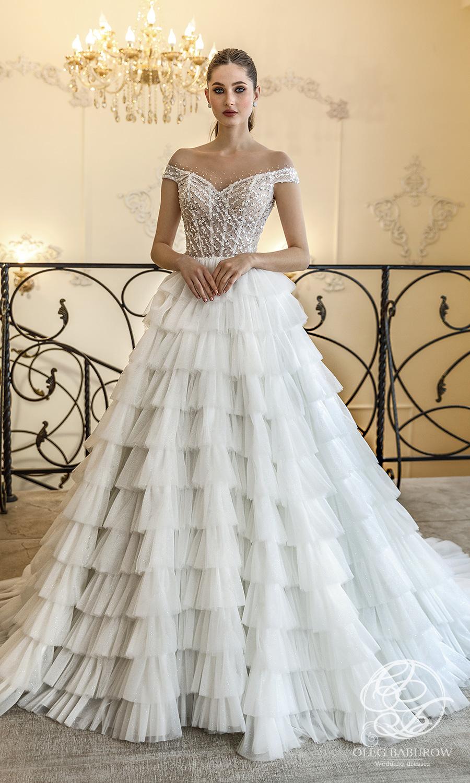oleg baburow 2021 life miracle bridal off shoulder straps sweetheart neckline embellished bodice a line ball gown wedding dress ruffle skirt chapel train (berlin) mv