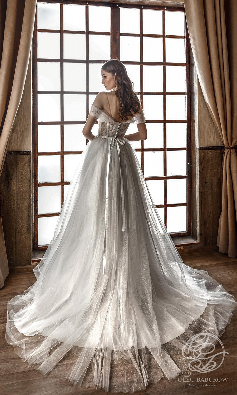 oleg baburow 2021 life miracle bridal off shoulder straps sweetheart neckline ruched bodice a line ball gown wedding dress chapel train (zemfira) bv