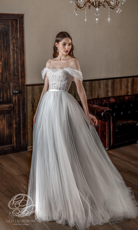 oleg baburow 2021 life miracle bridal off shoulder straps sweetheart neckline ruched bodice a line ball gown wedding dress chapel train (zemfira) mv