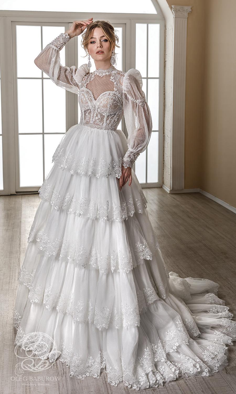 oleg baburow 2021 life miracle bridal sheer long puff bishop sleeves high neckline emebllished lace a line ball gown wedding dress tiered skirt chapel train (narnia) mv