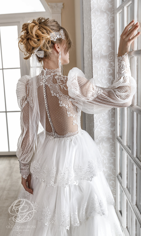 oleg baburow 2021 life miracle bridal sheer long puff bishop sleeves high neckline emebllished lace a line ball gown wedding dress tiered skirt chapel train (narnia) zbv