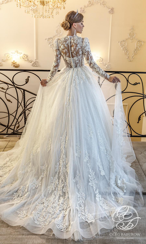 oleg baburow 2021 life miracle bridal sheer long puff sleeves jewel neckline embellished bodice lace skirt a line ball gown wedding dress chapel train (elsa) bv