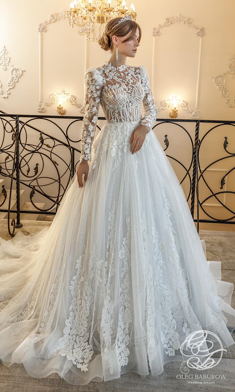 oleg baburow 2021 life miracle bridal sheer long puff sleeves jewel neckline embellished bodice lace skirt a line ball gown wedding dress chapel train (elsa) mv