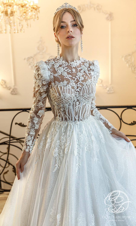 oleg baburow 2021 life miracle bridal sheer long puff sleeves jewel neckline embellished bodice lace skirt a line ball gown wedding dress chapel train (elsa) zv