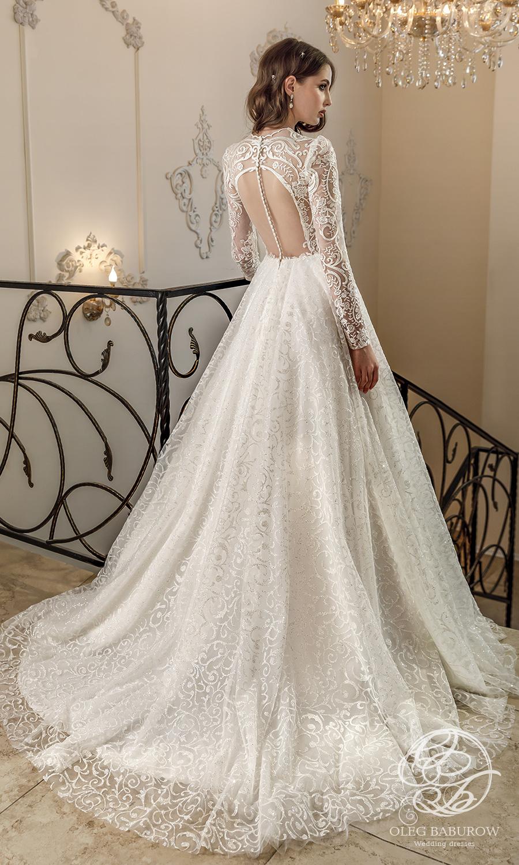 oleg baburow 2021 life miracle bridal sheer long sleeves jewel neckline embellished lace a line ball gown wedding dress chapel train (margo) bv
