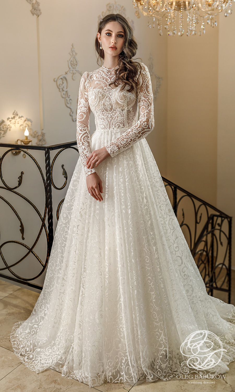 oleg baburow 2021 life miracle bridal sheer long sleeves jewel neckline embellished lace a line ball gown wedding dress chapel train (margo) mv