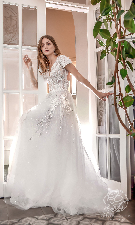 oleg baburow 2021 life miracle bridal short sleeve v neckline embellished bodice a line ball gown wedding dress chapal train (marlen) mv