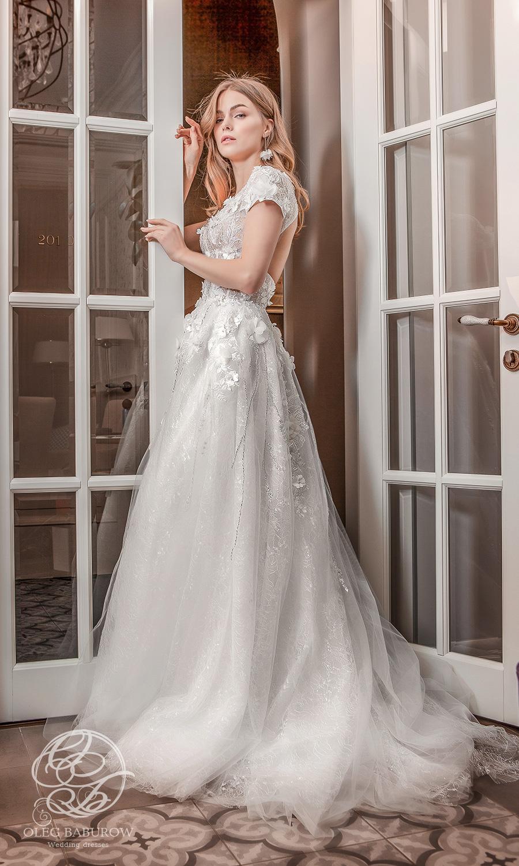 oleg baburow 2021 life miracle bridal short sleeve v neckline embellished bodice a line ball gown wedding dress chapal train (marlen) sv