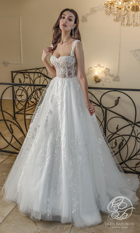 oleg baburow 2021 life miracle bridal sleeveless thick straps sweetheart neckline fully embellished lace a line ball gown wedding dress chapel train (fabiana) mv