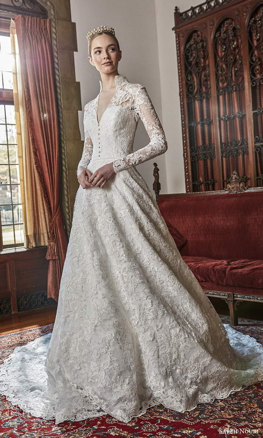 sareh nouri spring 2022 bridal long sleeve high collar v neckline fully embellished lace a line ball gown wedding dress chapel train (1) mv