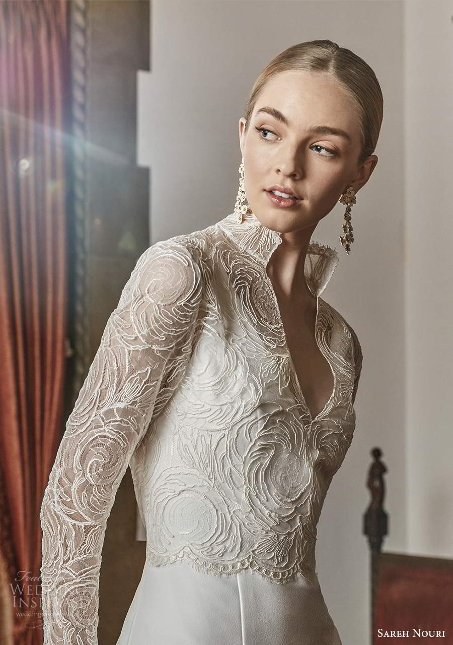 sareh nouri spring 2022 bridal long sleeve high collar v neckline fully embellished lace a line ball gown wedding dress chapel train (1) zv