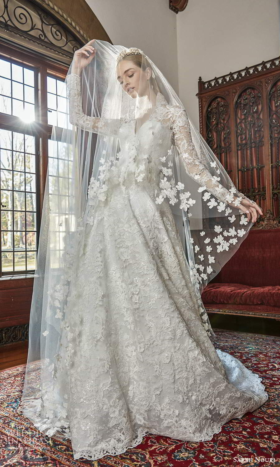 sareh nouri spring 2022 bridal long sleeve high collar v neckline fully embellished lace a line ball gown wedding dress chapel train veil (1) fv