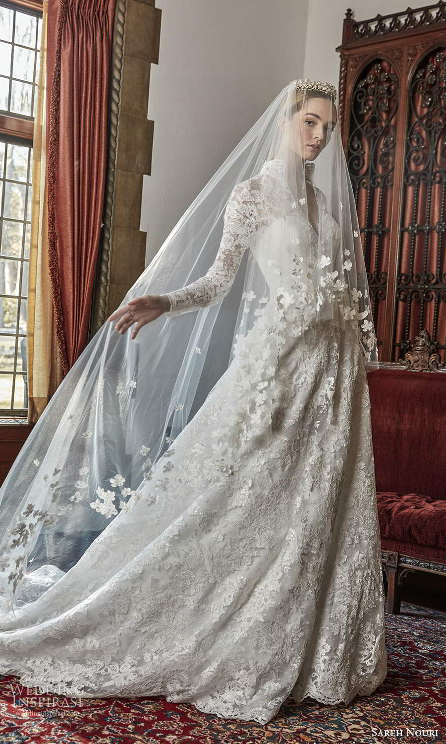 sareh nouri spring 2022 bridal long sleeve high collar v neckline fully embellished lace a line ball gown wedding dress chapel train veil (1) mv